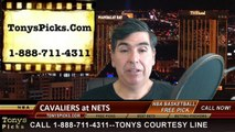 Brooklyn Nets vs. Cleveland Cavaliers Free Pick Prediction NBA Pro Basketball Odds Preview 3-27-2015