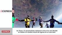 57 parachutistes dans les airs: le zapping insolite