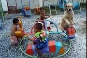 Un chien assis sur un manège avec des enfants