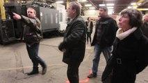Visite du sous-préfet Virginie Klès aux portes ouvertes organisées par les salariés licenciés de Sambre et Meuse à Feignies: