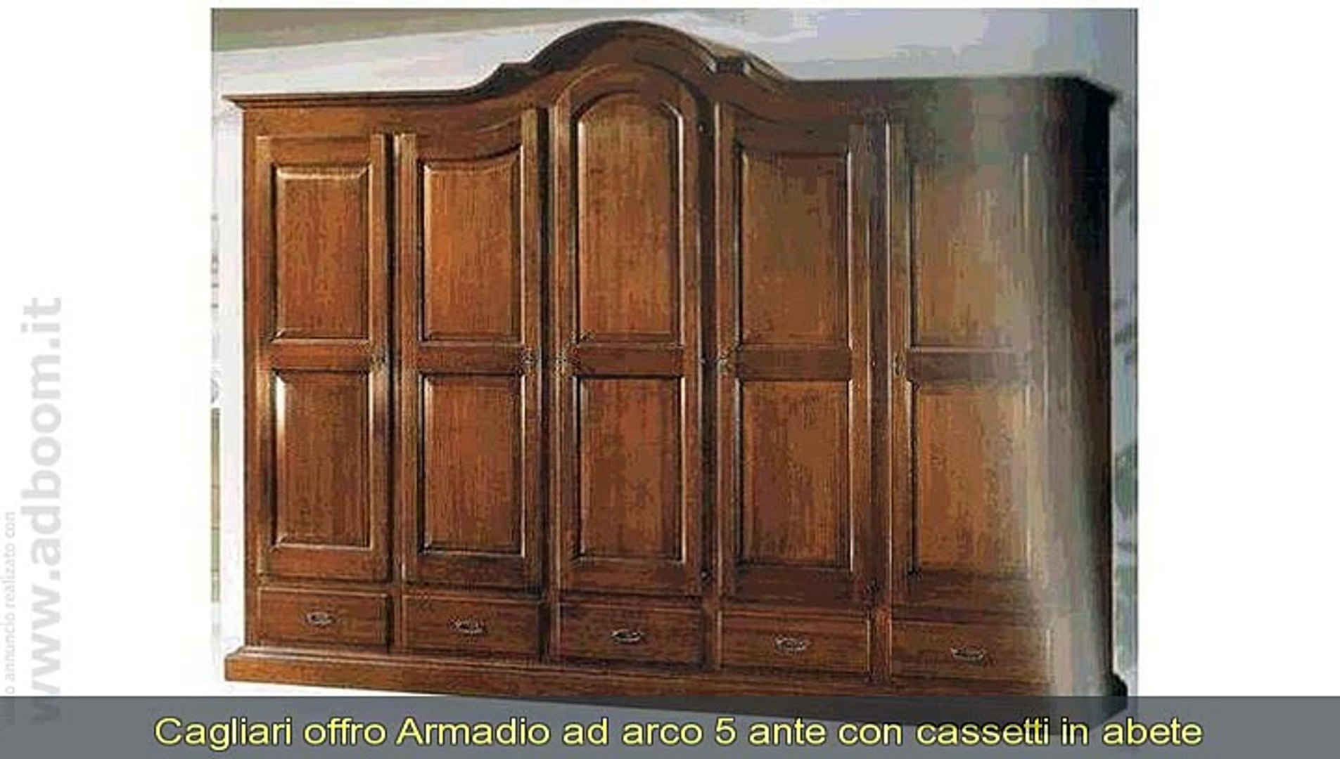 Armadio Classico 5 Ante.Cagliari Armadio Ad Arco 5 Ante Con Cassetti In Abete Massello