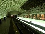 Washington, DC metro train arriving at station