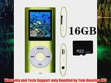 Tom America INC Green Portable MP4 Player MP3 Player Video Player with Photo Viewer EBook Reader Voice Recorder 16 GB Mi
