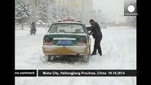 Heavy autumn snow blankets Mohe City, China - no comment
