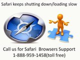 1-888-959-1458 Safari browser quits unexpectedly running slow tech support