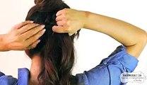 Under Side braid ponytail into a messy bun