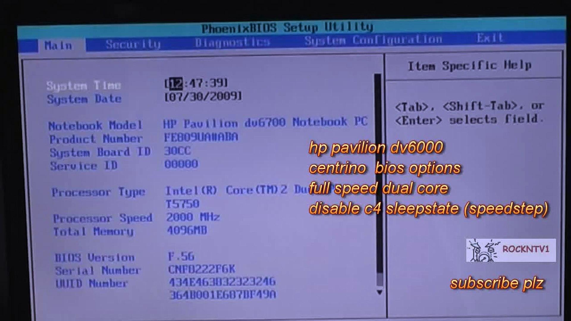 hp dv6000 centrino bios laptop overclocking with c4 sleep disabled