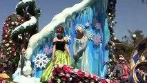 Frozen float w/ coronation dress Anna, Elsa, Olaf in Festival of Fantasy Parade at Walt Disney World