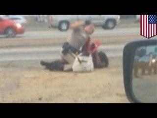 Polizist verprügelt Frau auf Highway