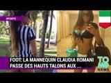 FOOT: La mannequin Claudia Romani passe des talons hauts aux chaussures à crampons