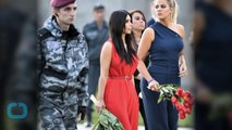 Kim and Khloé Kardashian Lay Flowers at Armenian Genocide Memorial