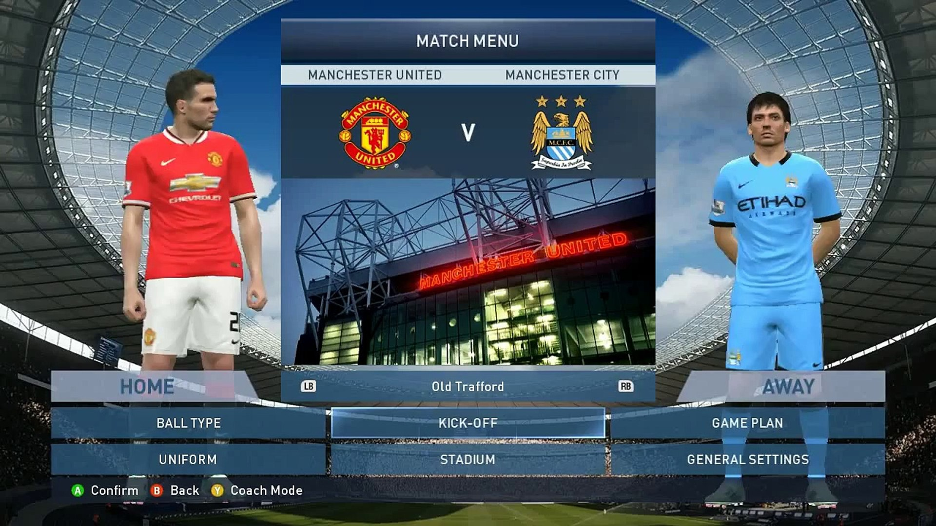 Pro Evolution Soccer 2015 (PES 2015) Premier League Match: Manchester United VS Manchester City