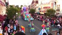 Mickey's Soundsational Parade shot high above Main Street USA at Disneyland