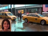 Woman gets hit by taxi, legs crushed between two cars in Times Square