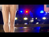 Half-naked DUI bust  police arrest drunk driving woman naked from the waist down