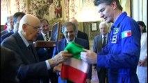 Gli astronauti Nespoli e Vittori riconsegnano il tricolore al Presidente Napolitano