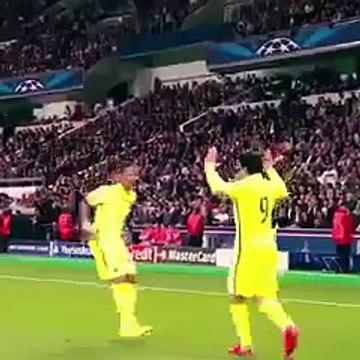 Luis Suarez nuts & crazy celebration scream v PSG