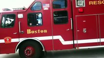 Boston FIRE R1 E10 TL3 H4 responding to the box call for a duck boat on fire in the charles river