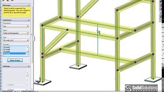 SolidWorks weldments / Structural steel framework - video