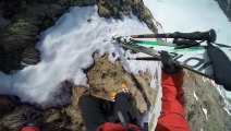 So Extreme Skiing session - 2 skiers falling in the mountain