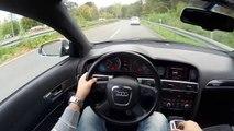 Audi A6 4.2 FSI Avant (2008) on German Autobahn - POV Top Speed Drive