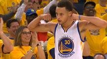 Le magnifique And1 main gauche de Stephen Curry malgré la faute d'Anthony Davis