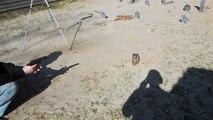 Gumilövedékes - Lövés jelzőrakéta pisztolyból teszt 9mm R + 30mm gumi