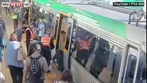 [WATCH] Commuters Push Train To Free Trapped Passenger In Perth, Australia   VIDEO