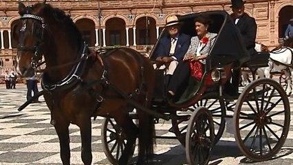 El colorido de los coches de caballos luce en el centro de Sevilla en vísperas de la Feria