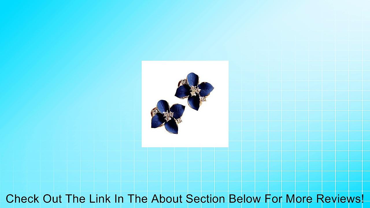 Pooqdo(TM) Fashion Elegant Cute Lady Girls Blue Flower Crystal Ear Stud Earrings Review