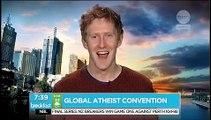 Religious Idiot insults Atheist on Public TV