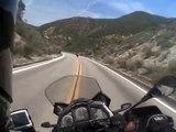 Great Motorcycle Road: Lake Hughes. Aprilia Caponord following Suzuki GSX-R 1000