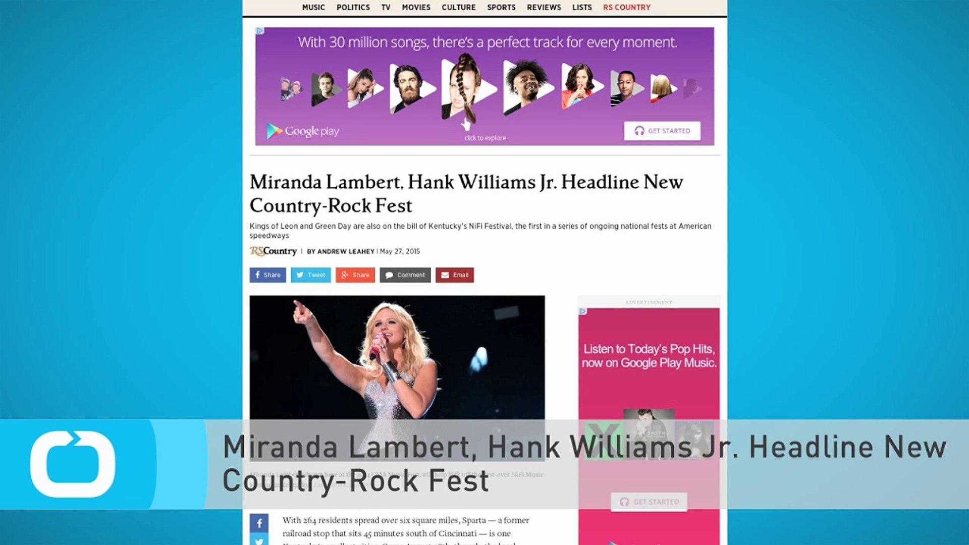 Miranda Lambert, Hank Williams Jr. Headline New Country-Rock Fest