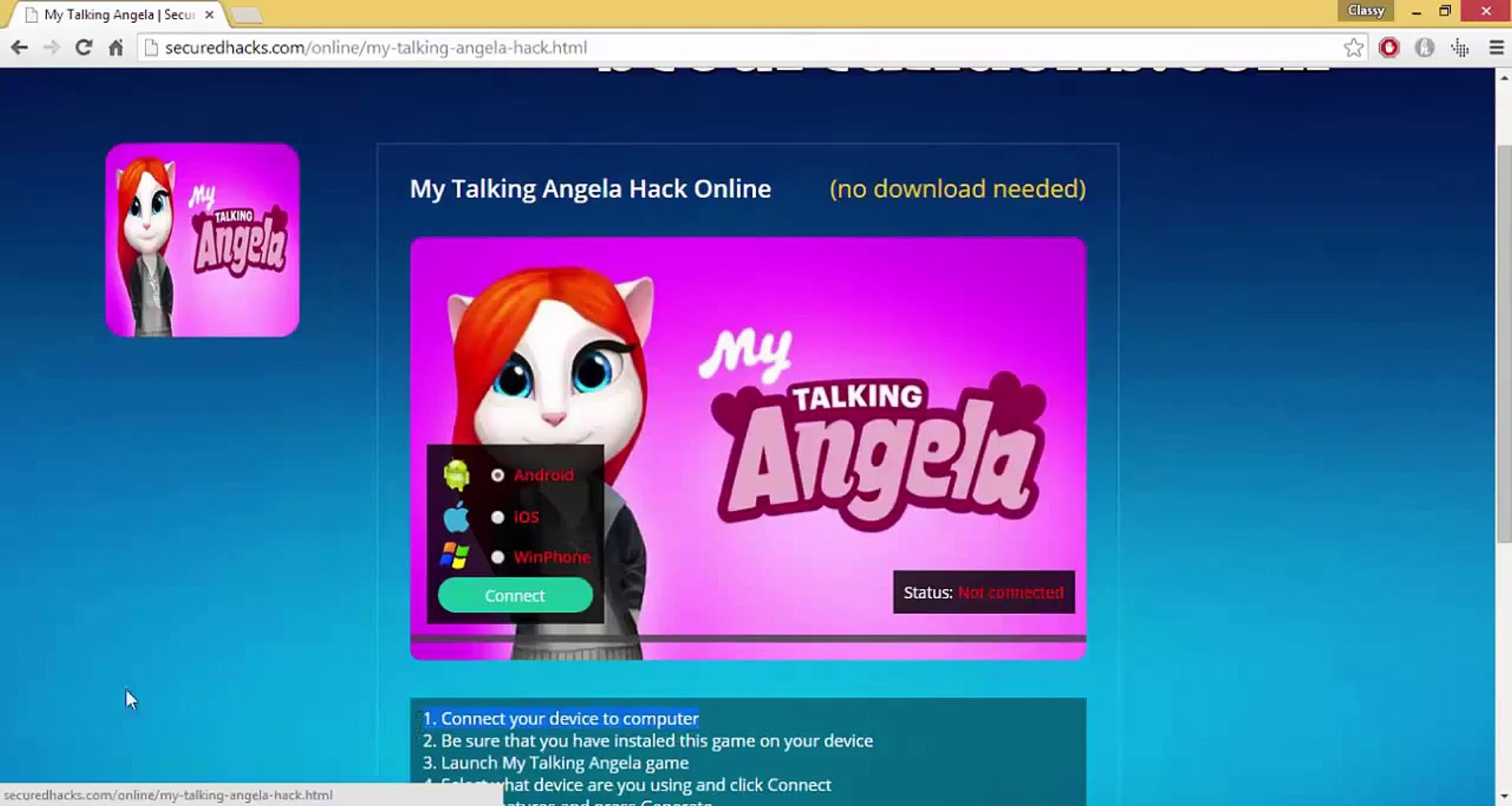 My Talking Angela Hack Online || iOS & Android || Unlimited Gems and Coins  || 2015 Exploit