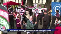 Anti-austerity protesters march through Westminster