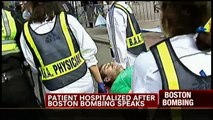 Boston Bombing victim gets nearly severed foot runover by wheelchair and pink vest lady walks by.