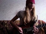 Amazing! Blindfolded guitar cover of Dream Theater On the Backs Of Angels Petrucci solo played by a girl