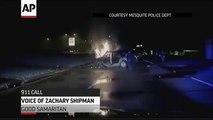 deux policiers sauvent un homme d'une voiture en feu