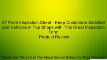 27 Point Inspection Sheet - Keep Customers Satisfied and Vehicles in Top Shape with This Great Inspection Form Review