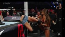fight scene WWE TLC 2014 AJ Brooks as AJ Lee wrapped around the post,spider outfit