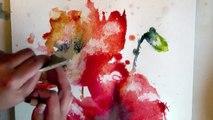 watercolour aquarelle poppies poppy painting demo