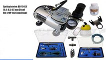 Airbrush-Set AS-18-2-H Komplett-Set Kompresor Set
