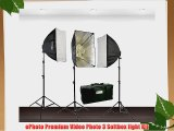 ePhoto 3600 Watt Digital Photography Studio Video THREE Softbox Lighting Light Kit H604S3