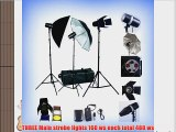 ePhoto PREMIUM Photography Studio Umbrella Softbox Lighting 3 Lights 3 Light Kit FAN023
