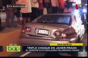 San Borja: auto que presuntamente realizaba 'piques' causó triple choque