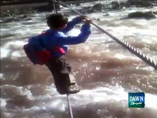 Kashmiri Child Put His Life On Risk To Reach School