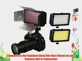 ePhoto 240CHB 240 LED Dimmable Hot Shoe Light with Barndoor and Diffuser