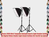 ePhoto 2000 Watt Tungsten Halogen Quartz Light Double Softbox Kit Digital Video Studio Light