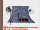 Interfit INT115 SXT3200 Three Head Kit Light Kit with Stands Umbrellas and Background