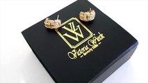 Victoria Wieck 2 43ct Absolute™ Channel Set and Baguette Curved J Huggie Hoop Earrings.